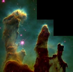 Pillars of Creation, foto van de Hubbel ruimtetelescoop